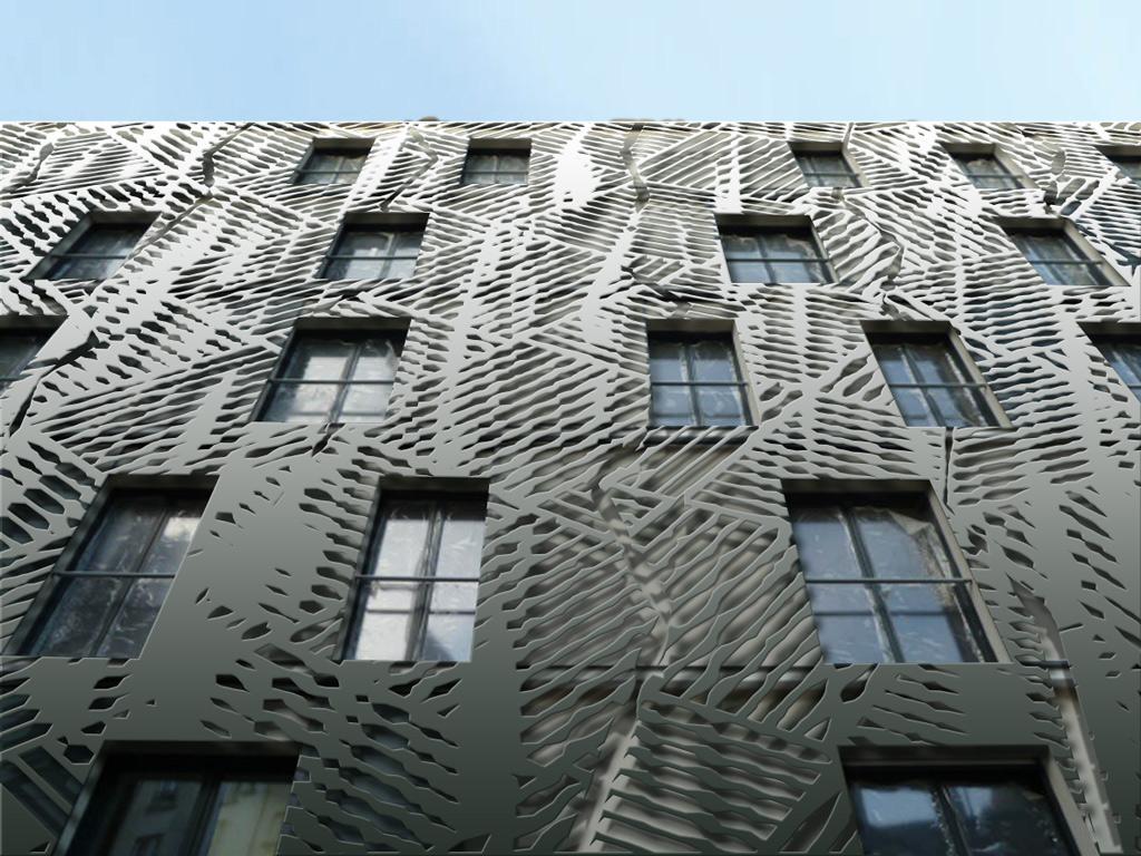 Decoration de façade en tôle découpée (exemple)